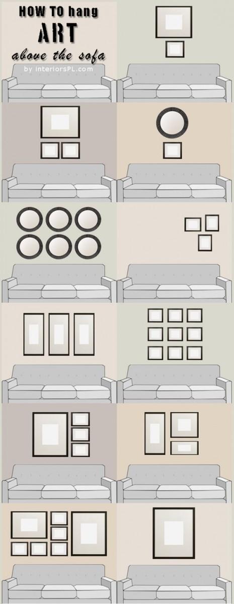 Ιδέες για να κρεμάσεις με στυλ τους πίνακες στο σαλόνι
